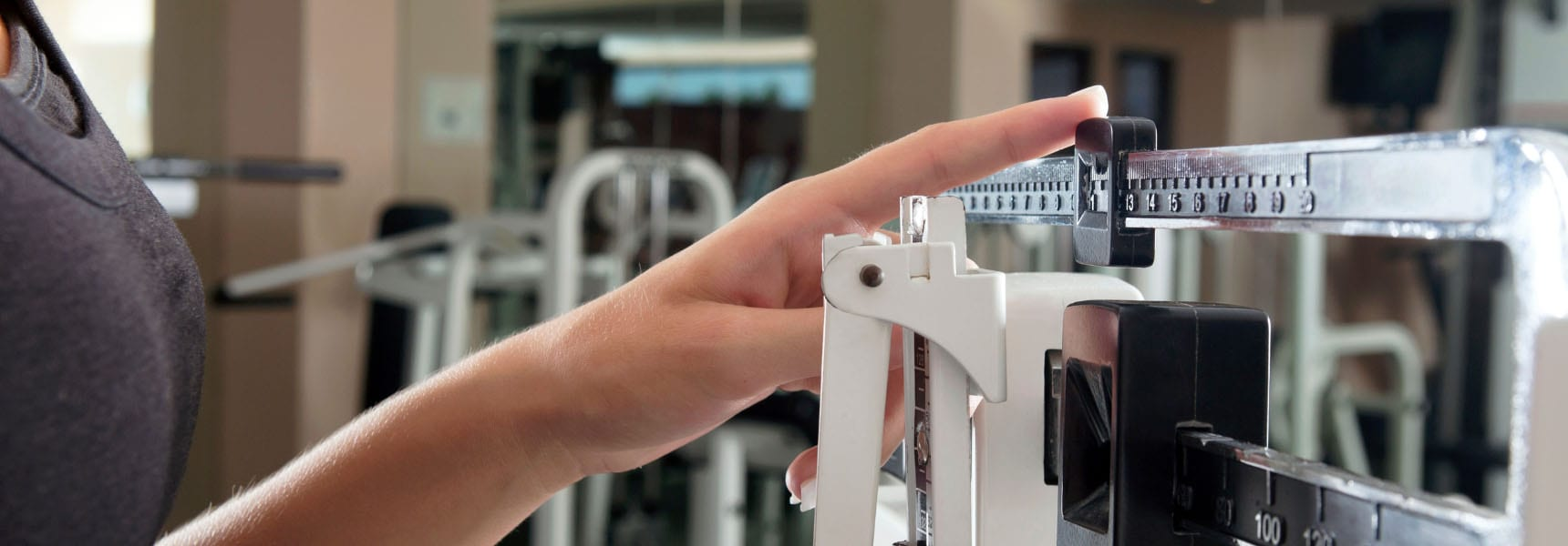 weight scale in a modern gym